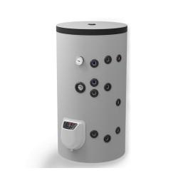 Бойлер ЕЛДОМ, неръждаем, стоящ, 150 л, с две серпентини, електронно управление